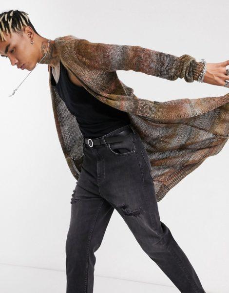 ASOS DESIGN - Longline Strickjacke aus teilgefärbtem Garn-Mehrfarbig