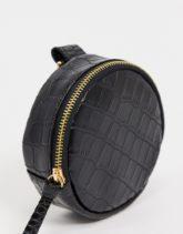 ASOS DESIGN - Modulare runde Tasche aus Kunstleder in Kroko-schwarz mit Clipdetail