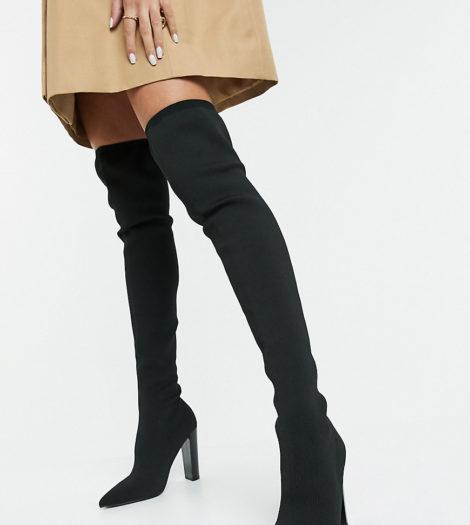 ASOS DESIGN Petite - Kudos - Gestrickte Overknee-Stiefel mit Blockabsatz in Schwarz