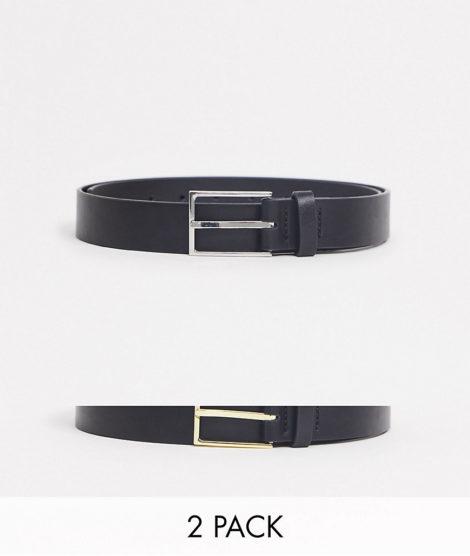 ASOS DESIGN - Schmale Gürtel aus schwarzem Kunstleder mit gold- und silberfarbener Schnalle im 2er-Set-Mehrfarbig