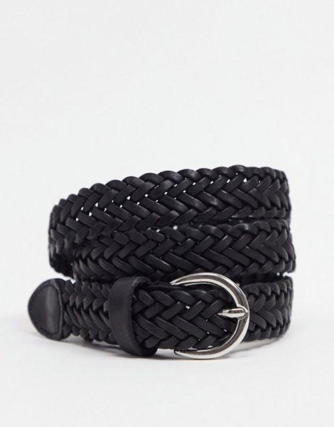 ASOS DESIGN - Schmaler, geflochtener Gürtel aus Leder in Schwarz