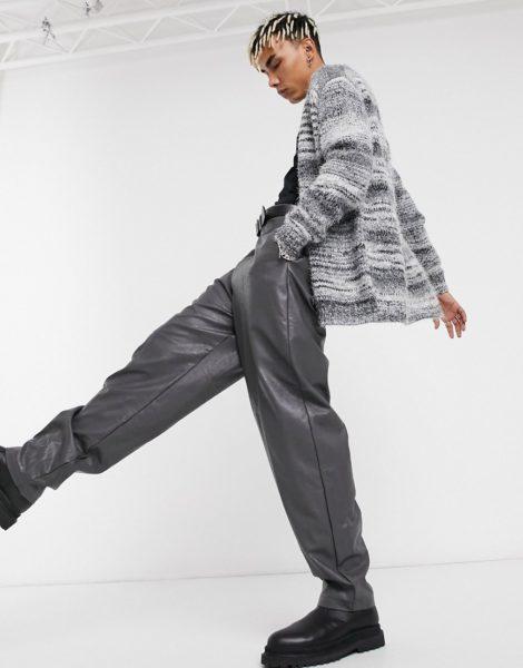 ASOS DESIGN - Schwere Strickjacke aus teilgefärbtem Garn-Schwarz