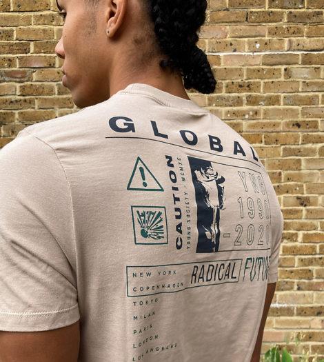 ASOS DESIGN Tall - T-Shirt in Beige mit Schriftzug auf der Rückseite