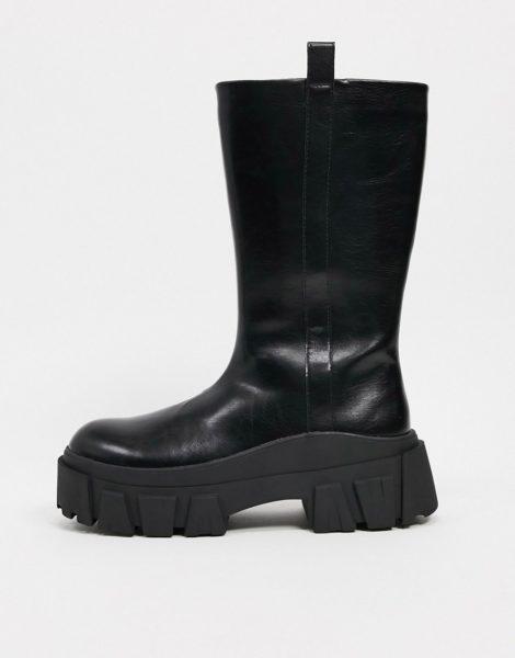 ASOS DESIGN - Wadenhohe Chelsea-Stiefel mit dicker Sohle aus schwarzem Kunstleder