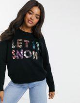 """ASOS DESIGN - Weihnachtspullover mit """"Let It Snow""""-Motiv zur Unterstützung der ASOS-Foundation-Schwarz"""