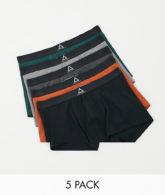 ASOS - Unrvlld Spply - Dunkelfarbige Unterhosen im 5er-Pack, Sparangebot-Mehrfarbig