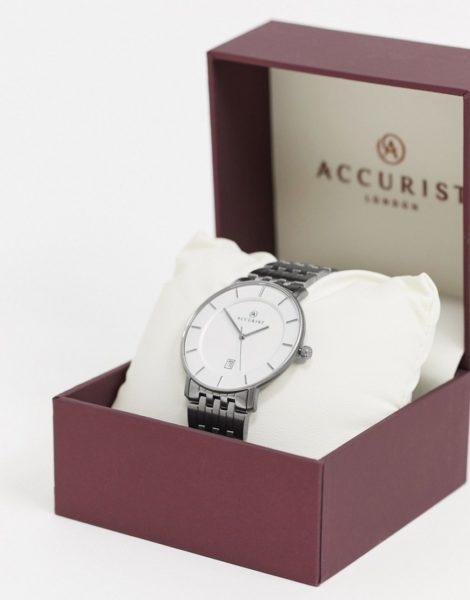 Accurist - Silberne Armbanduhr mit weißem Zifferblatt
