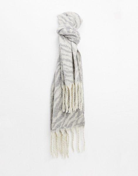 Aldo - Grauer Schal mit Animal-Print und Fransen