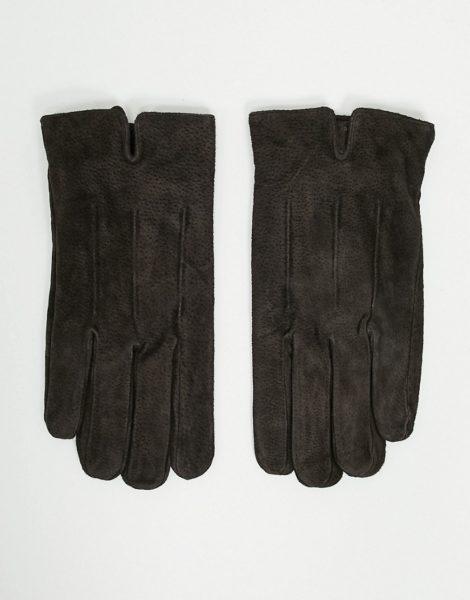 Barneys Original - Braune Touchscreen-Handschuhe aus Wildleder
