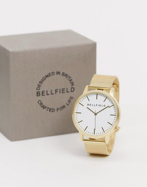 Bellfield - Uhr mit Netzstoffarmband in Gold