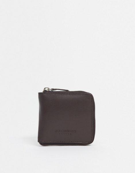Bolongaro Trevor - Leder-Brieftasche mit Rundum-Reißverschluss-Braun
