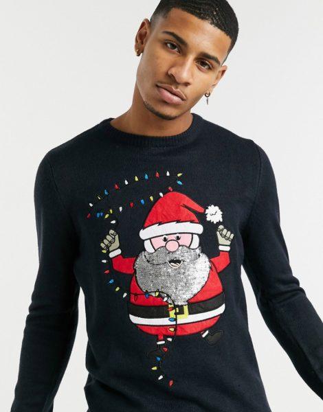 Brave Soul - Dancing Santa - Weihnachtspullover-Navy