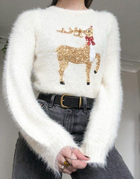 Brave Soul - Flauschiger Weihnachtspullover mit Rentiermotiv-Creme