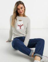 Brave Soul - Kuschliger Weihnachtspullover mit Eisbär-Motiv-Grau