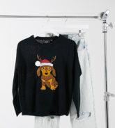 Brave Soul Petite - Bestickter Weihnachtspullover mit Hundemotiv-Schwarz