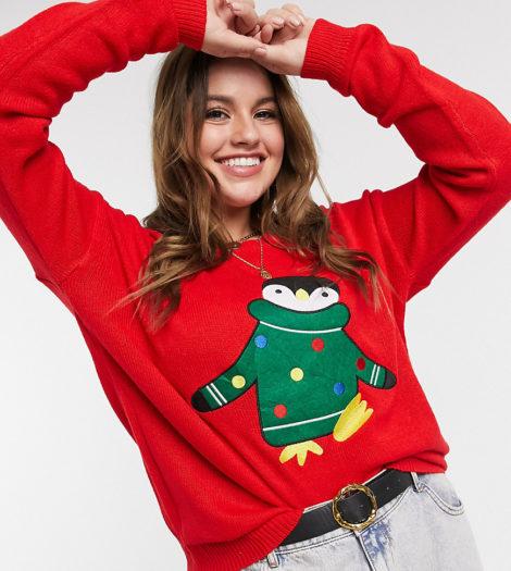 Brave Soul Plus - Weihnachtspullover mit Pinguin-Design-Rot