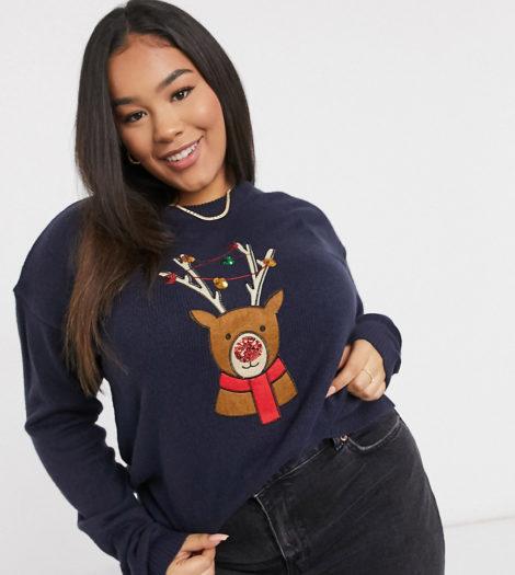 Brave Soul Plus - Weihnachtspullover mit Rentier-Marineblau