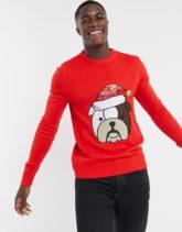 Brave Soul - Weihnachtspullover mit Hundemotiv-Rot