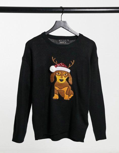 Brave Soul - Weihnachtspullover mit Hundemotiv-Schwarz