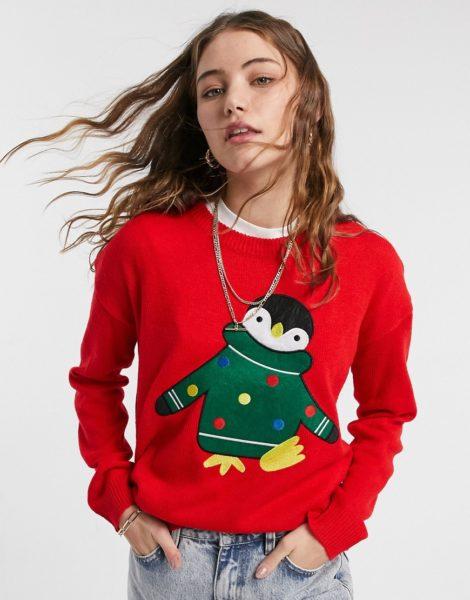Brave Soul - Weihnachtspullover mit Pinguindesign-Rot