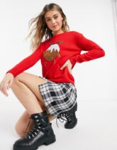 Brave Soul - Weihnachtspullover mit Pudding-Design-Rot