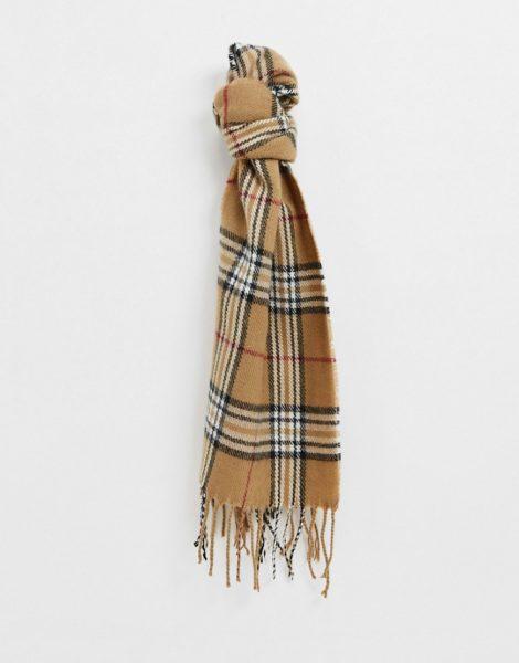 Burton Menswear - Schal mit Schottenkaros in Hellbraun-Stone