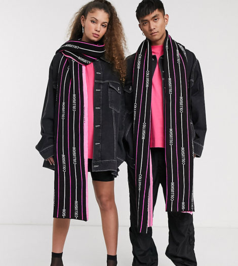 COLLUSION - Gestreifter Unisex-Schal mit Logo-Design-Mehrfarbig