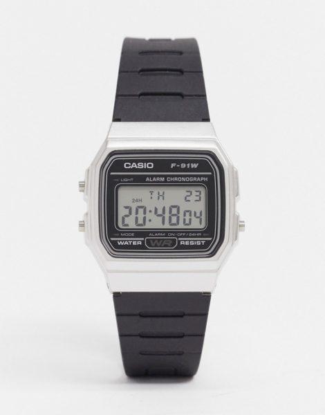 Casio - F91WM-7A - Digitale Silikon-Armbanduhr in Schwarz/Silber