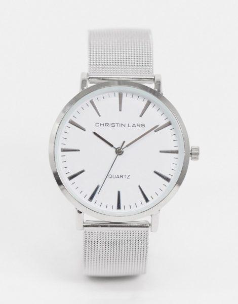 Christin Lars - Silberne Armbanduhr mit weißem Zifferblatt