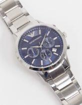 Emporio Armani - Silberne Armbanduhr mit blauem Zifferblatt, AR2448