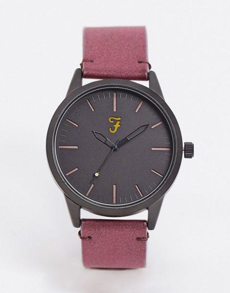 Farah - Klassische Uhr mit Armband aus Wildlederimitat-Rot