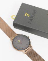 Farah - Uhr mit schmalem Mesh-Armband-Gold