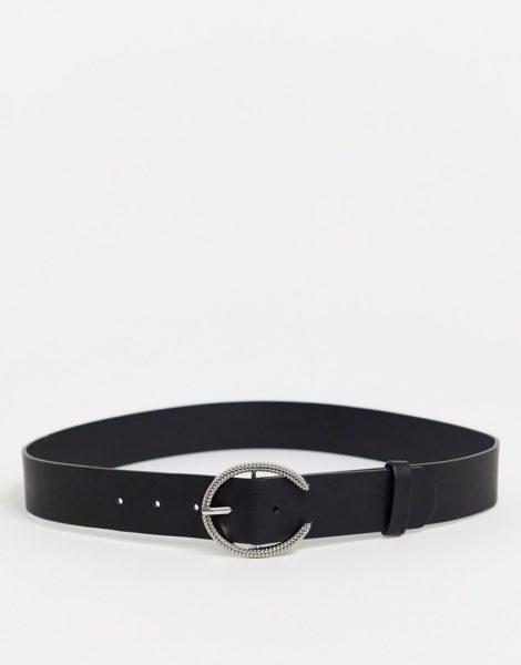 Glamorous - Schwarzer Gürtel mit minimalistischer, runder Silberschnalle