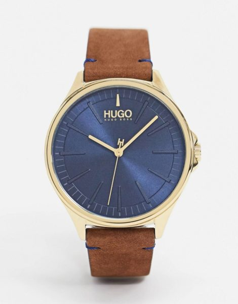 HUGO - 1530134 - Uhr mit Lederarmband in Braun