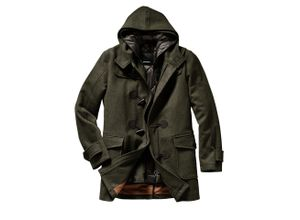 Herren Mantel Regular Fit Grün einfarbig