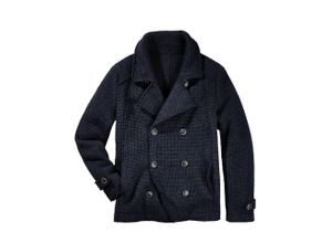 Herren Mantel Slim Fit Blau einfarbig