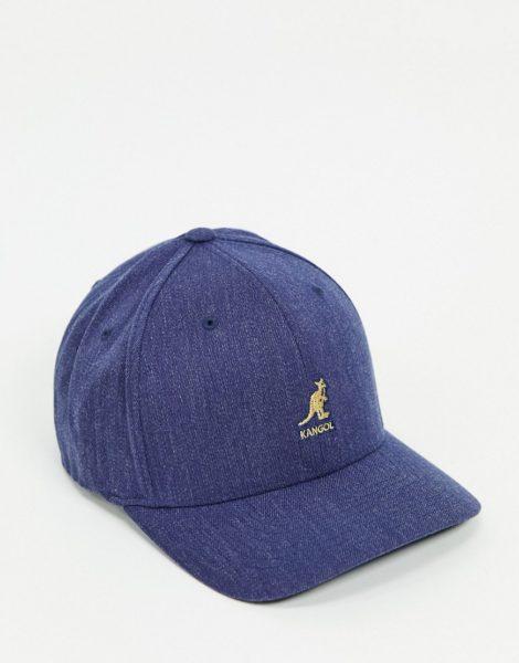 Kangol - Blaue Baseballkappe aus Wolle mit Flexfit-Design