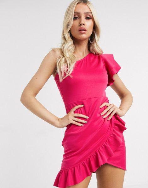 Laced in Love - Minikleid in Pink mit One-Shoulder-Träger und Rüschenbesatz-Rosa