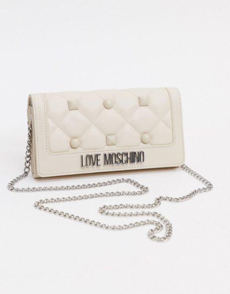 Love Moschino - Gesteppte Geldbörse mit Kettenriemen und Nieten in Elfenbeinweiß-Creme