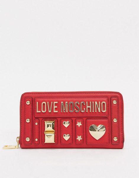 Love Moschino - Love and More - Mit Nieten besetzte Geldbörse in Rot