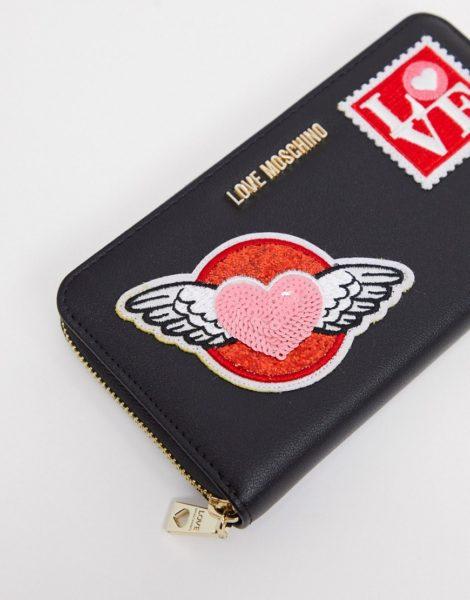 Love Moschino - Schwarze Geldbörse mit Aufnähern