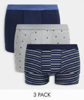 New Look - 3er-Pack Unterhosen mit geometrischem Muster in Marineblau