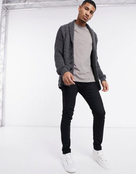 New Look - Dunkelgraue Strickjacke mit Zopfmuster und Schalkragen