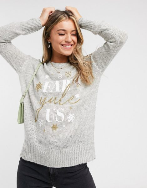 New Look - Grauer Weihnachtspullover