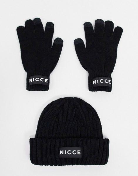 Nicce - Geschenkset mit Fischer-Beanie und Touchscreen-Handschuhen in Schwarz