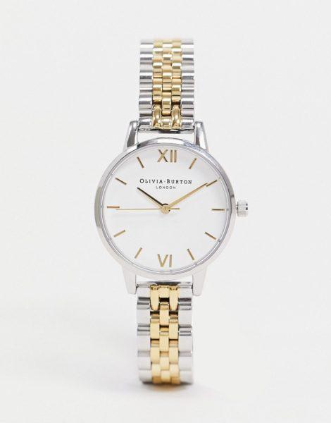 Olivia Burton - Armbanduhr mit mittelgroßem Zifferblatt in Weiß aus unterschiedlichen Metallen-Mehrfarbig