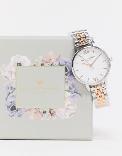 Olivia Burton - Armbanduhr mit mittelgroßem Zifferblatt in Weiß aus unterschiedlichen Metallen-Silber