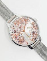Olivia Burton - OB16VM46 - Armbanduhr in Silber mit Netzband und abstraktem Blumendesign