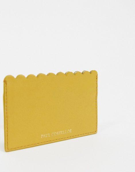 Paul Costelloe - Senfgelbes Kartenetui aus Leder mit Bogenkanten-Bronze