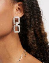 Pieces - Eckige, hängende Ohrringe mit Strasssteinen in Silber-Gold
